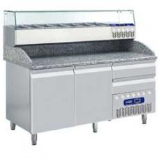 TP23/EL+SX160G/PM típusú ipari, nagykonyhai, Hűtött pizzaasztal