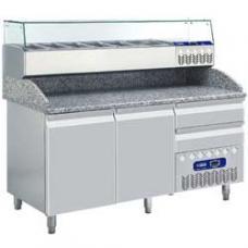 TP23/PM+SY160G/PM típusú ipari, nagykonyhai, Hűtött pizzaasztal
