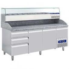 TP261/PM+SY198G/PM típusú ipari, nagykonyhai, Hűtött pizzaasztal