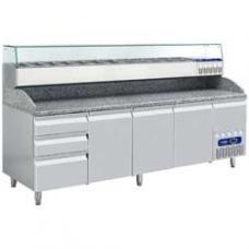 TP361/PM+SX249G/PM típusú ipari, nagykonyhai, Hűtött pizzaasztal